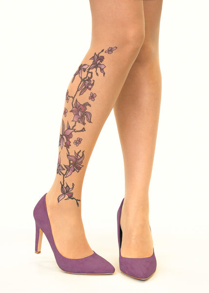 Purple Orchids Tattoo Printed Sheer Tights/Pantyhose