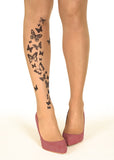 Black Butterflies Tattoo Printed Sheer Tights/Pantyhose