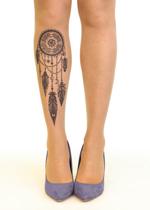 Black Dreamcatcher Tattoo Printed Sheer Tights/Pantyhose