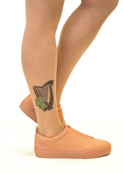 Irish Harp & Shamrock Tattoo Printed Sheer Tights/Pantyhose