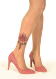 Pink Tribal Water Lily Tattoo Printed Sheer Tights/Pantyhose