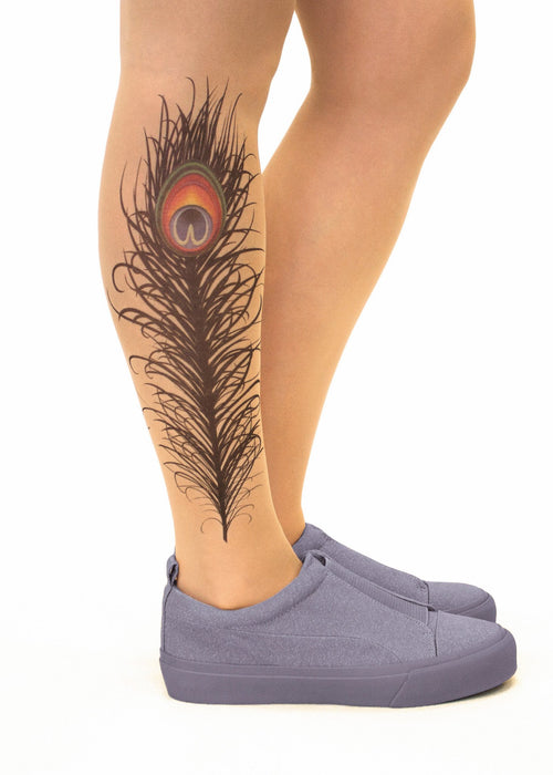 Peacock Feather Tattoo Printed Sheer Tights/Pantyhose