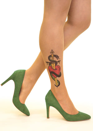 Heart, Dagger & Snake Tattoo Printed Sheer Tights/Pantyhose