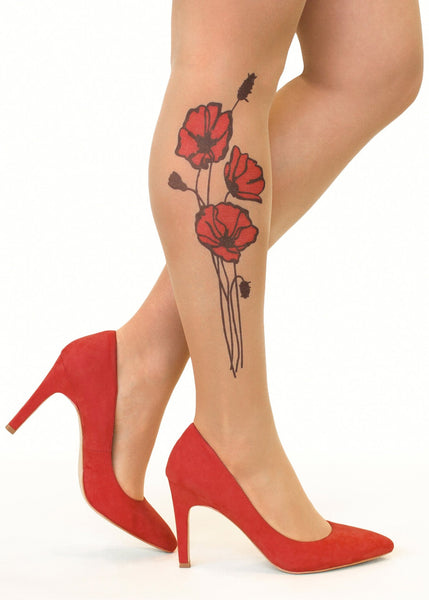 Red Poppies Tattoo Printed Sheer Tights/Pantyhose