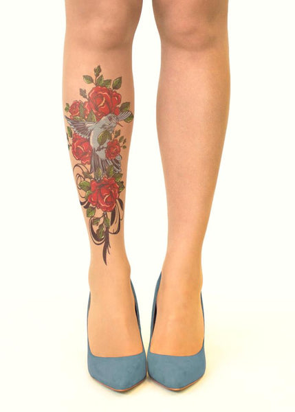 Bird N' Roses Tattoo Printed Sheer Tights/Pantyhose