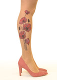 Tricolour Poppies Tattoo Printed Sheer Tights/Pantyhose