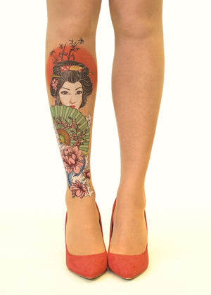 Japanese Geisha Tattoo Printed Sheer Tights/Pantyhose