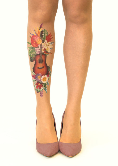 Tropical Guitar Tattoo Printed Sheer Tights/Pantyhose