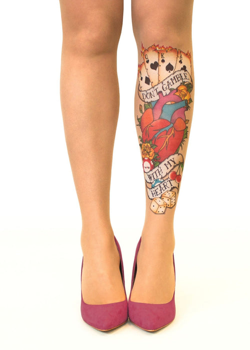 Don't Gamble Tattoo Printed Sheer Tights/Pantyhose