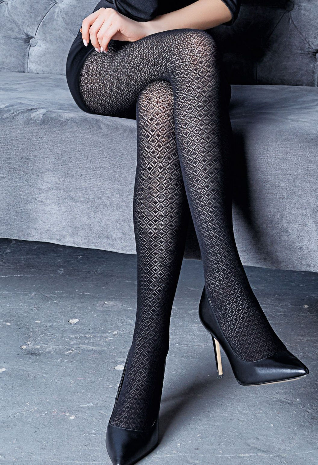 Tiffany 12 Diamond Patterned Lace Tights by Giulia in black