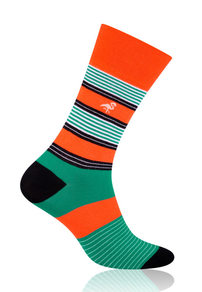 Striped Patterned Socks in Orange & Green by More