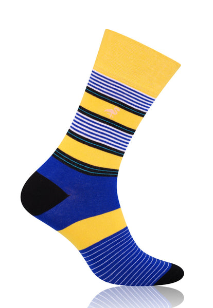 Striped Patterned Socks in Yellow & Purple by More