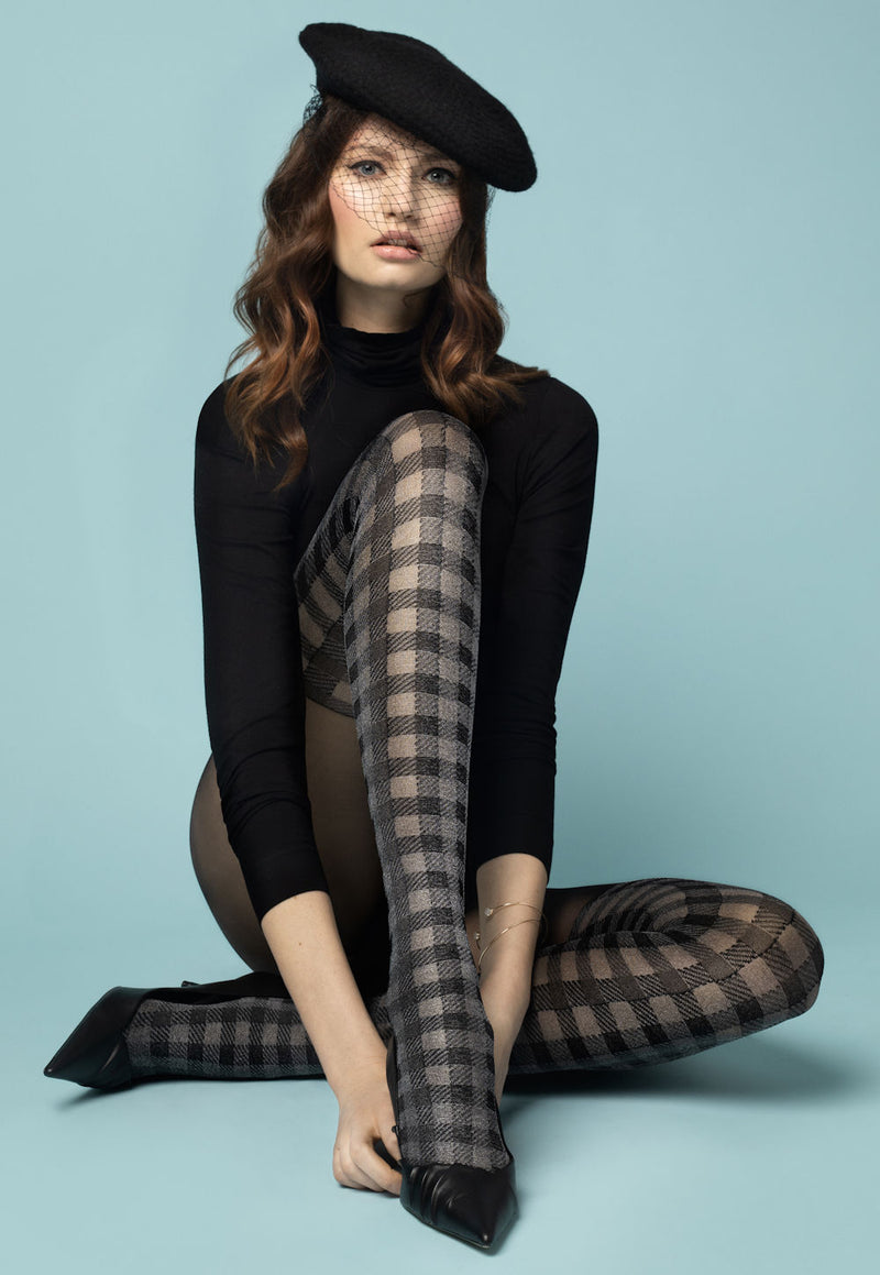 Twist Again Mock Over-Knee Plaid Patterned Tights by Fiore in black grey