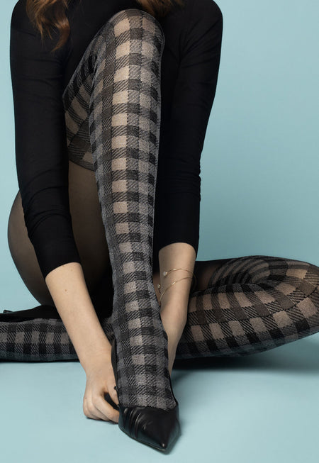Zazu 04 Mock Over-Knee Tights with Silver Fishnet Band by Marilyn