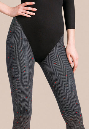 Tavia Tweed Patterned Opaque Tights by Gabriella