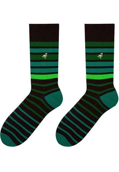 Faded Stripes Patterned Cotton Socks in Green by More