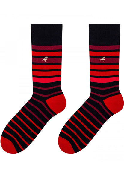 Faded Stripes Patterned Cotton Socks in Red by More
