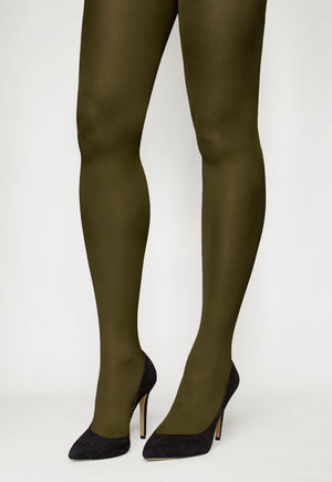 Tonic 40 Den Coloured Opaque Tights in Forest military green