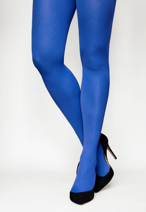 Tonic 40 Den Coloured Opaque Tights in New Blue royal cobalt blue
