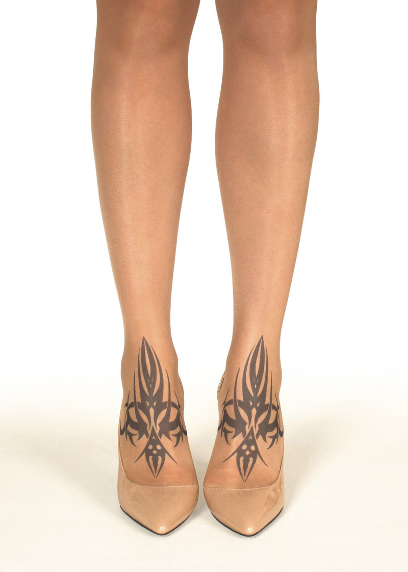 Twin Tribal Tattoo Printed Sheer Tights/Pantyhose