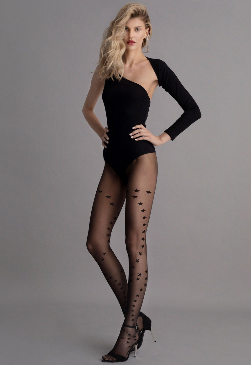Vanity Star Patterned Sheer Tights by Fiore