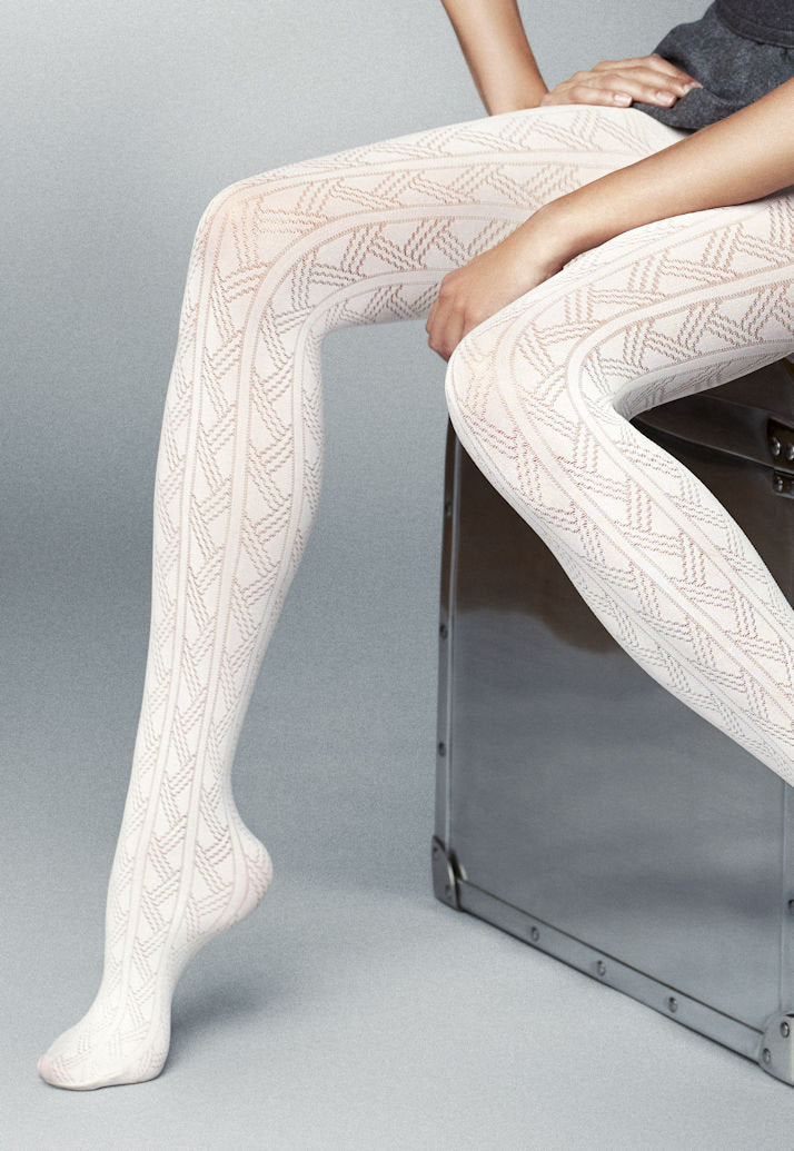 Vega Geometric Patterned Lace Tights by Veneziana in ivory cream white