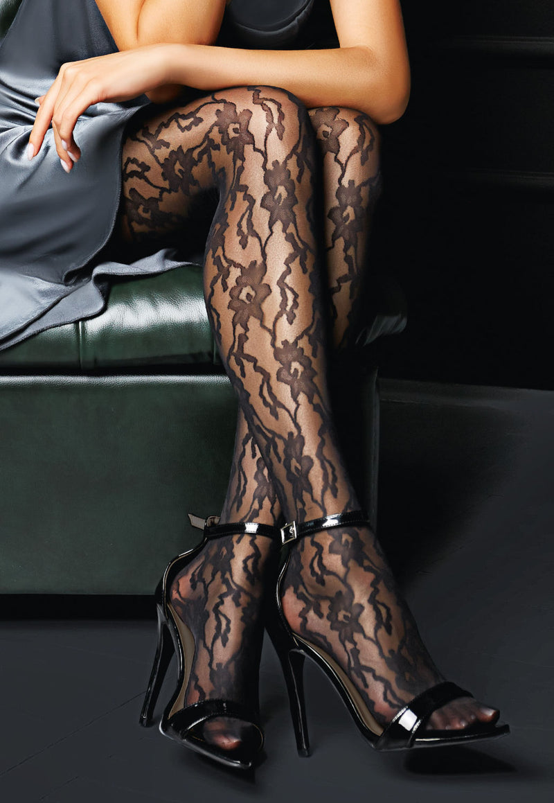 Versale Floral Lace Patterned Sheer Tights by Giulia