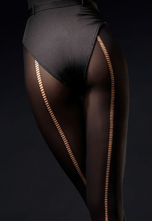 Wild Side Opaque Tights with Ripped Effect Seam by Fiore