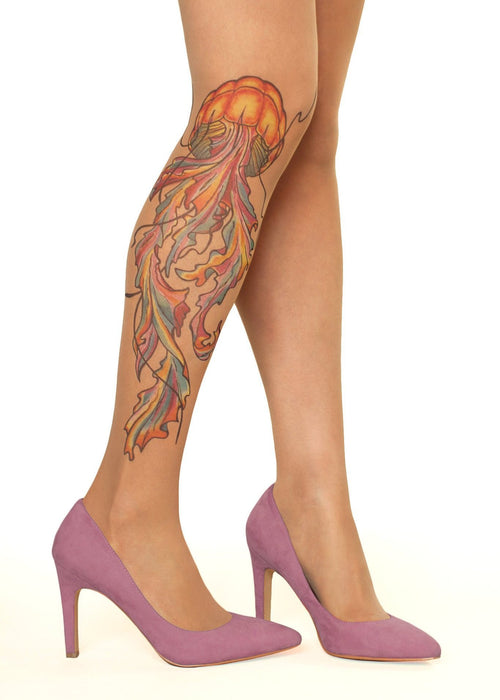 Watercolour Jellyfish Tattoo Printed Sheer Tights/Pantyhose