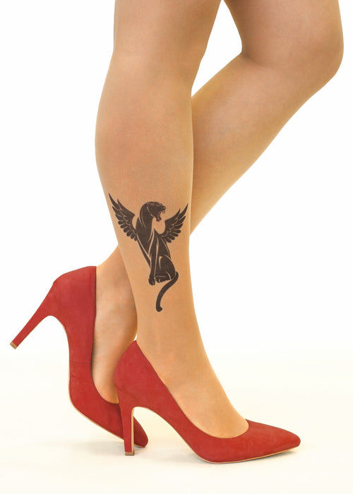 Winged Panther Tattoo Printed Sheer Tights/Pantyhose