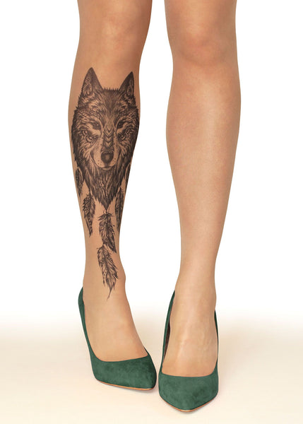 Wolf Dreamcatcher Tattoo Printed Sheer Tights/Pantyhose