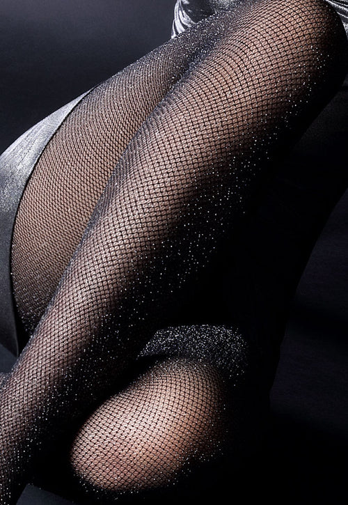 Zlata Sparkly Lurex Fishnet Silver/Black Tights
