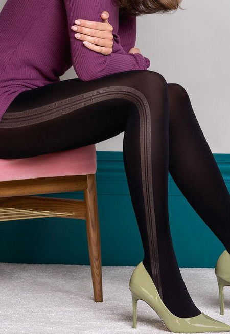 Retro Chic Tweed Panelled Opaque Tights by Fiore