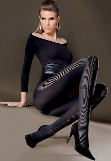 Adria Diagonal Stripes Panelled Tights by Gabriella in Black