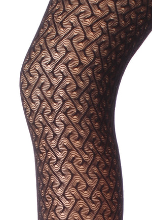 Ajour 01 Maze Patterned Lace Tights by Giulia in black