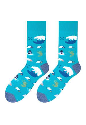 Alaska Polar Bears Patterned Socks in Teal by More blue green