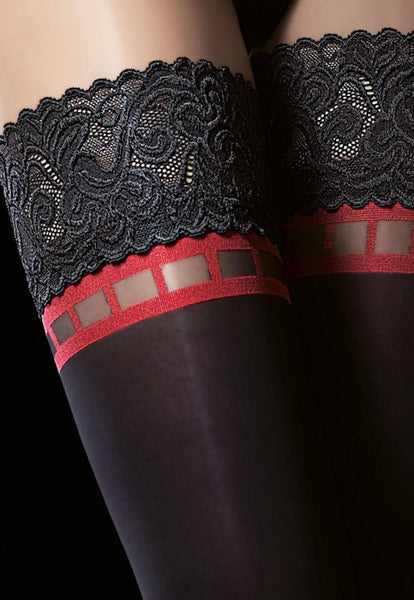 Alize 40 Denier Opaque Red Detail Hold-Ups by Fiore