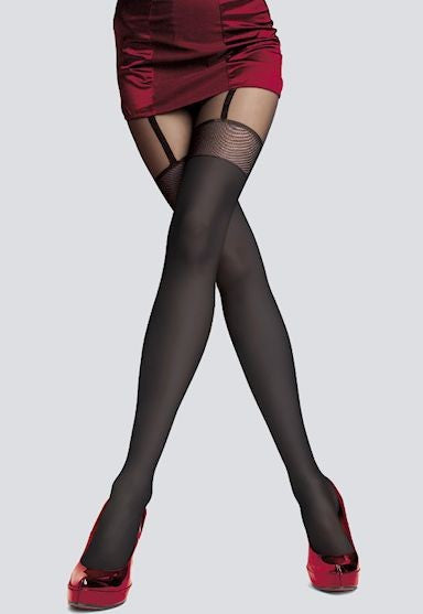 Alpia Mock Suspender & Sheer Welt Tights by Fiore in Black