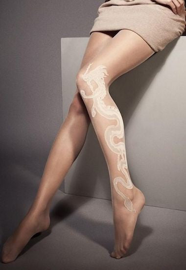 Amanda Sheer Tights with Dragon Tattoo by Veneziana