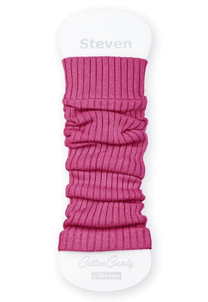 Ribbed Cotton Kids' Leg Warmers by Steven in candy pink