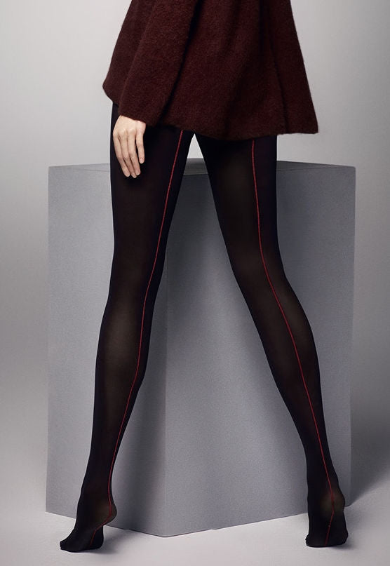 Amber Contrast Seam 3D Opaque Tights by Veneziana in black & red