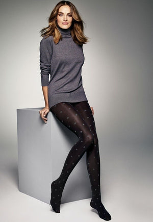 Antonella Polka Dot Patterned Black Opaque Tights by Veneziana