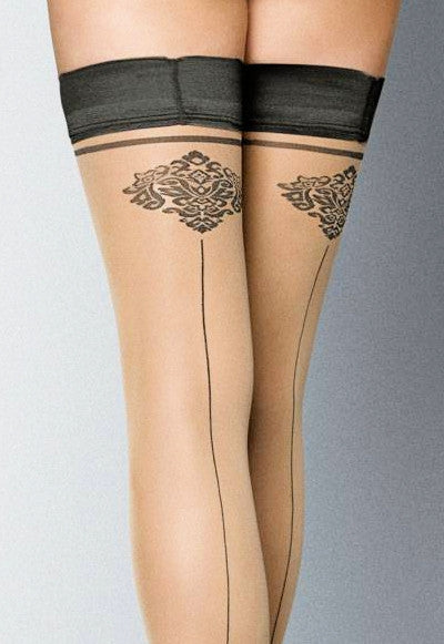 Ar Carmine Baroque Seamed Sheer Hold-Ups by Veneziana