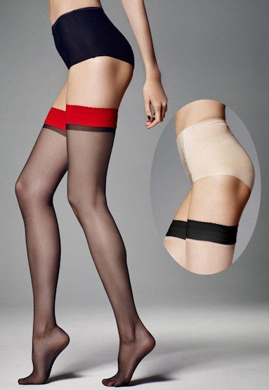 Ar Catalina Contrast Welt Sheer Hold-Ups by Veneziana