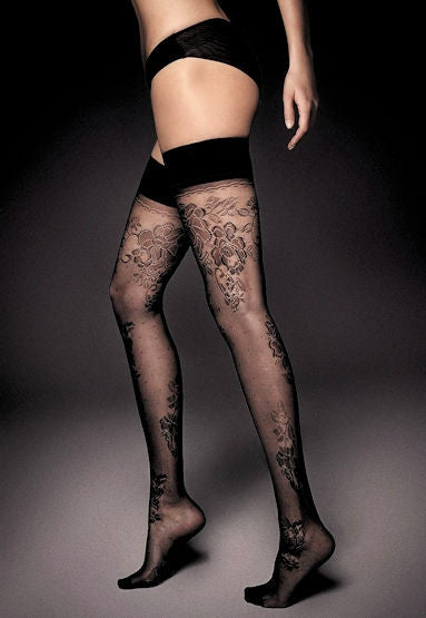 Ar Clara Floral Lace & Micro Tulle Hold-Ups by Veneziana