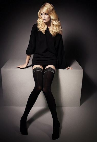 Ar Julie 60 Denier Opaque Hold-Ups by Veneziana in Black