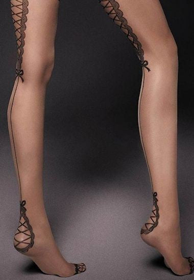 Ar Lea Backseam & Lace-Up Hold-Ups by Veneziana