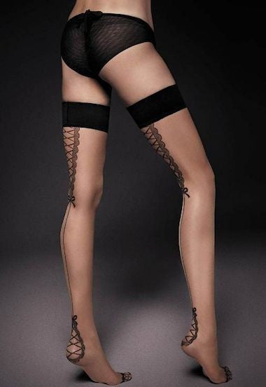 f5d506de368 Sheer patterned   seamed hold-ups   thigh-highs at Ireland s online ...