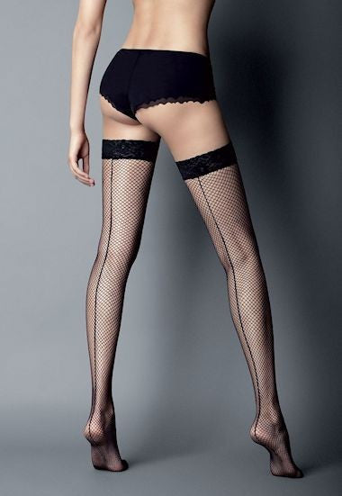 Ar Rete Riga Backseam Fishnet Hold-Ups by Veneziana