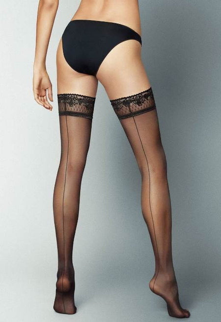 Rene Polka Dot Openwork Patterned Hold-Ups by Gabriella
